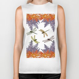 DRAGONFLIES & PURPLE-BROWN WOODLAND FERNS  ABSTRACT Biker Tank