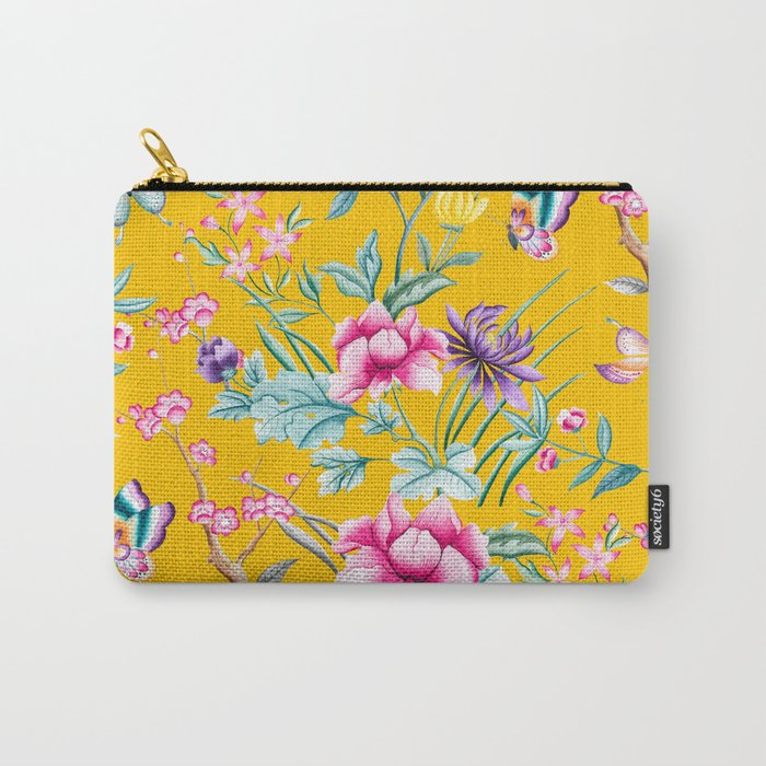 Chinoiserie mustard yellow floral Carry-All Pouch