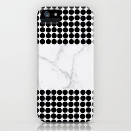 Black white polka dots modern marble pattern iPhone Case