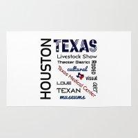 houston Area & Throw Rugs featuring Houston Texas by raineon