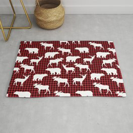 Plaid camping animals minimal bear moose deer nursery decor gender neutral woodland Rug
