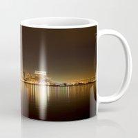 san diego Mugs featuring San Diego Skyline Night by Henrik Lehnerer