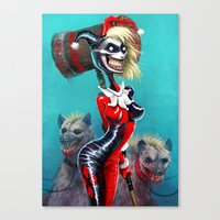 harley quinn Canvas Prints featuring HARLEY QUINN by The Art of Austen Mengler