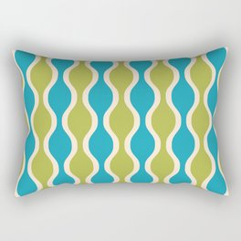 Classic Retro Ogee Pattern 852 Turquoise and Olive Rectangular Pillow