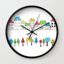 Row of Houses, Row of Trees Wall Clock