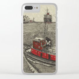 Morgan Tugboat, Hudson river, New York Clear iPhone Case