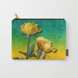 Gold Roses & Vibrant Watercolor Carry-All Pouch