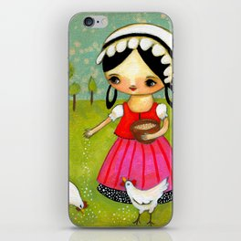 Chicken Feed Sweet girl with roosters by TASCHA iPhone Skin