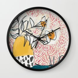 Yellow and Fushia Vase and Flowers Wall Clock