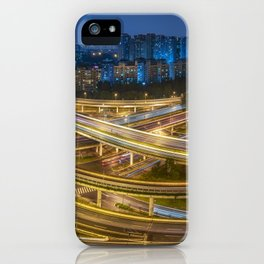 Busy interchange at night in China iPhone Case