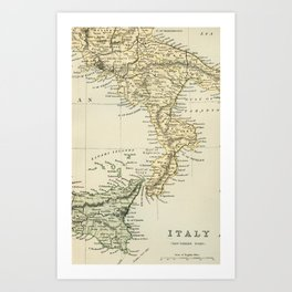 Vintage Retro Map Southern Italy Art Print