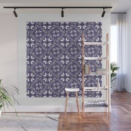 Continuous Flower Pattern Tessellation in Purple Wall Mural