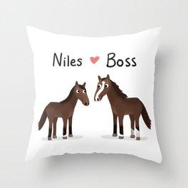"Custom Artwork, ""Niles and Boss"" Throw Pillow"