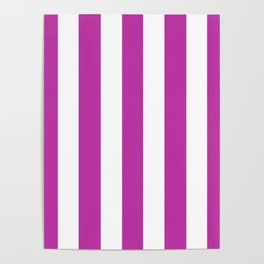 Byzantine fuchsia - solid color - white vertical lines pattern Poster