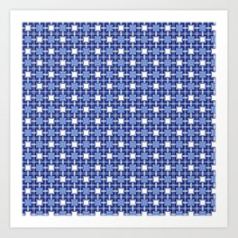 Blue Block Pattern Art Print