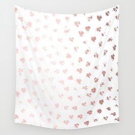 Rose Gold Pink Polka Splotch Dots on White Wall Tapestry