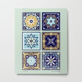 Talavera Mexican Tile – Mint & Navy Palette Metal Print