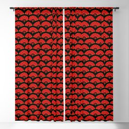 Exotic Red Chinese Dance Fans Pattern on Blck Blackout Curtain