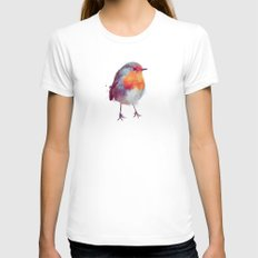 Winter Robin Womens Fitted Tee SMALL White