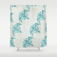 teal Shower Curtains featuring Teal by Juste Pixx Designs