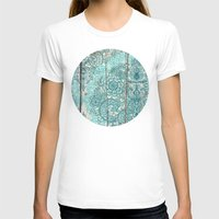 botanical T-shirts featuring Teal & Aqua Botanical Doodle on Weathered Wood by micklyn