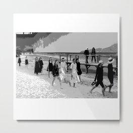 beach looks  karl black and white Metal Print