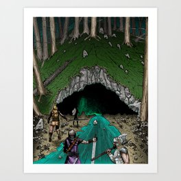 Party Approaching Cave Art Print