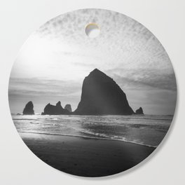 Haystack Rock in Black and White - Cannon Beach, Oregon Film Photo Cutting Board