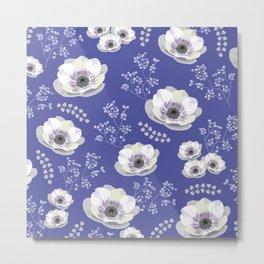 Anemones IV: blue pattern Metal Print