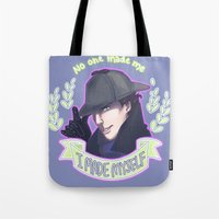 enerjax Tote Bags featuring Sherlock - I Made Myself by enerjax