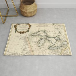 1775 Vintage Map of the Great Lakes and Upper Mississippi region Rug