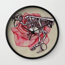 Owl Skeleton w/Rose Wall Clock