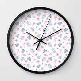 Modern watercolor blue pink tropical flamingo floral Wall Clock