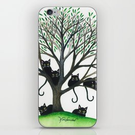 Borders Whimsical Cats in Tree iPhone Skin