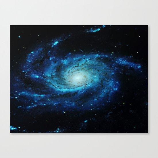 Spiral gAlaxy. Teal Ocean Blue Canvas Print