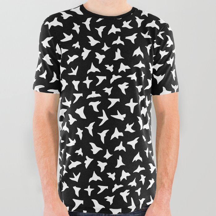 Flock_of_Birds__white_All_Over_Graphic_Tee_by_Rosewall_Prints__Large