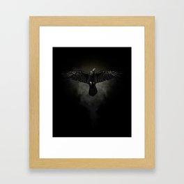 Black raven, crow flight Framed Art Print