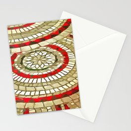 Mosaic Circular Pattern In Red and Gold Stationery Cards