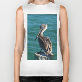 Pelican On A Pole Biker Tank