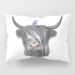 Scottish Cow & Blue Bird Pillow Sham