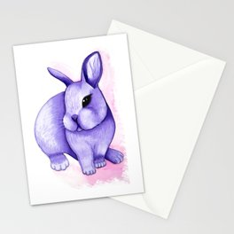Watercolor lilac rabbit Stationery Cards