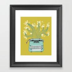 The Typing Tree Blue Framed Art Print