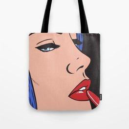 Red Lipstick Comic Girl Tote Bag