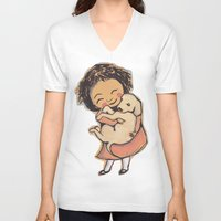 puppies V-neck T-shirts featuring I Love Puppies by Katie O'Hagan
