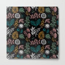 Exotic Flora Pattern Black Metal Print