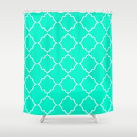 moroccan Shower Curtains featuring Moroccan Aqua by Jenna Mhairi