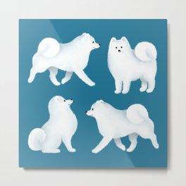Samoyed Pattern (Blue Background) Metal Print