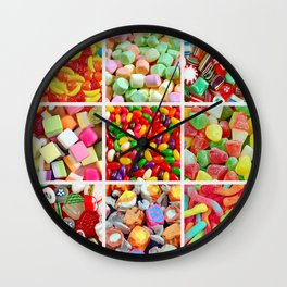 Colorful candy collage Wall Clock
