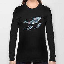 Rose Garden Whales Long Sleeve T-shirt