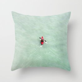 Red Canoe in Paradise | Scarborough Bluffs | Beach Photography | Blue Waves | Aerial Photography Throw Pillow
